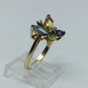 Ross-Simons Jewelry - Ross Simons Sterling Gold Multicolor Gem Butterfly